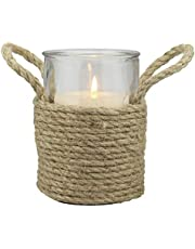 Stonebriar Rope Wrapped Pillar Holder with Rope Handles