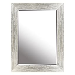 HobbitHoleCo Beveled Mirror with Gradient Frame, Silver Leaf, 26.25-Inch by 34.25-Inch (Inner Mirror 20-Inch by 28-Inch)