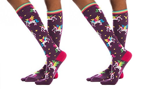 (Unicorn Purple Rainbow V-Toe Flip Flop Socks Fun Stylish Girls (2 Pairs))