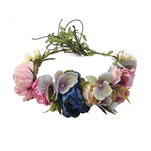 Bride Women Flower Crown Hair Band Wedding Floral Headband Garland Ribbon Bow Girl Flower Wreath Elastic Hair Accessories,W