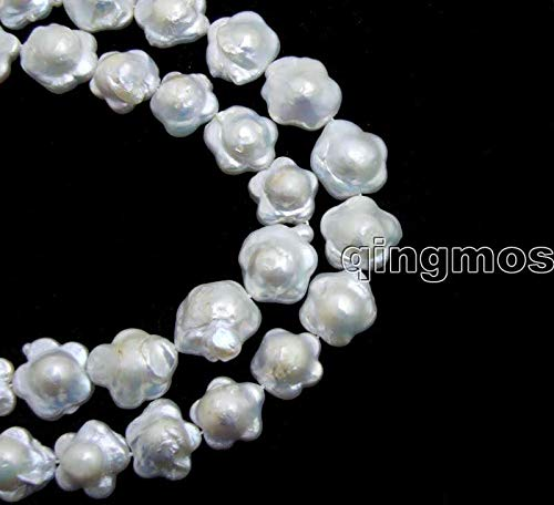(Calvas Big 15mm White Plum Blossom Natural Freshwater Pearl Loose Beads Strands 14'' -los787)