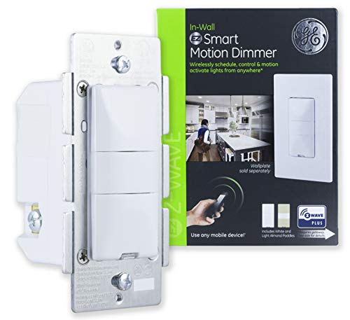 GE Enbrighten Z-Wave Plus Smart Motion Dimmer Switch, Full Light Dimming, Vacancy/Occupancy Sensor, White and Lt. Almond, Zwave Hub Required, Works with SmartThings, Wink, Alexa, 26933, White & Light