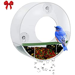 Birdious Tube Window Bird Feeder– Watch Backyard Wild Birds from Home– Removable Tray, Large Squirrel Proof Birdhouse for Outside, Clear See Through, Strong Suction Cups – Decorative Round Design