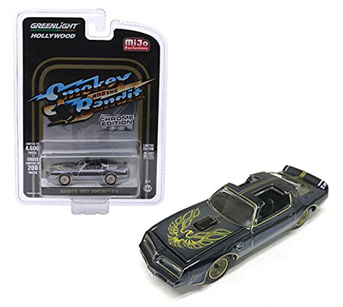 (1977 Pontiac Firebird Trans Am (Bandit's) Black Chrome Smokey and The Bandit (1977) Movie Ltd Ed to 4,600 pcs 1/64 Diecast Car by Greenlight 51223)