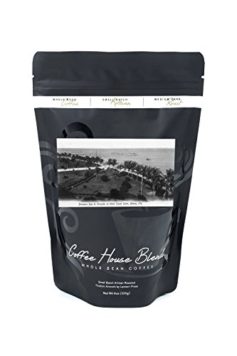 Miami, Florida - Royal Palm Hotel Grounds and Biscayne Bay View (8oz Whole Bean Small Batch Artisan Coffee - Bold & Strong Medium Dark Roast w/ Artwork) - Biscayne Wall Lantern