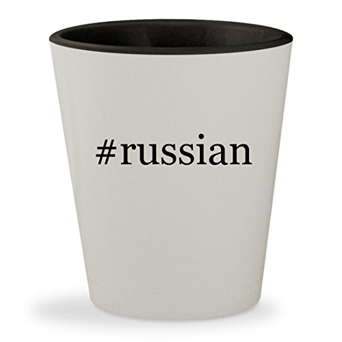 #russian - Hashtag White Outer & Black Inner Ceramic 1.5oz Shot Glass (Watch Terrier Keychain)