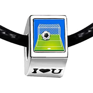 Chicforest Silver Plated UEFA Euro 2012 soccer ball goals Photo I Love You Charm Beads Fits Pandora Bracelet