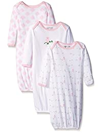 Luvable Friends Baby Girls' Gowns, 3 Pack
