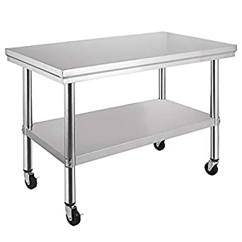VEVOR NSF Stainless Steel Work Table with Wheels 36x24 Prep Table with casters Heavy Duty Work Table for Commercial Kitchen Restaurant Business Garage ...