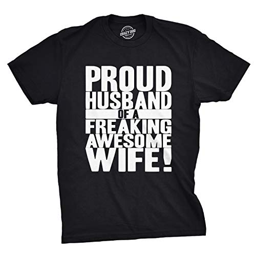 Crazy Dog T-Shirts Mens Proud Husband of a Freaking Awesome Wife Funny Valentines Day T Shirt (Black) - L