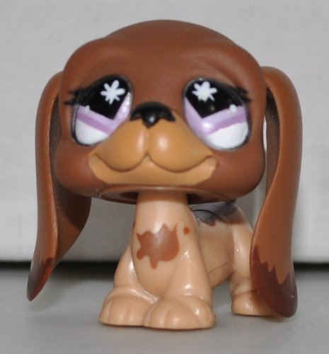 Bassett Hound #665 (Brown, Purple Eyes, Tan Muzzle) Littlest Pet Shop (Retired) Collector Toy - LPS Collectible Replacement Single Figure - Loose (OOP Out of Package & Print) (Purple Hounds)