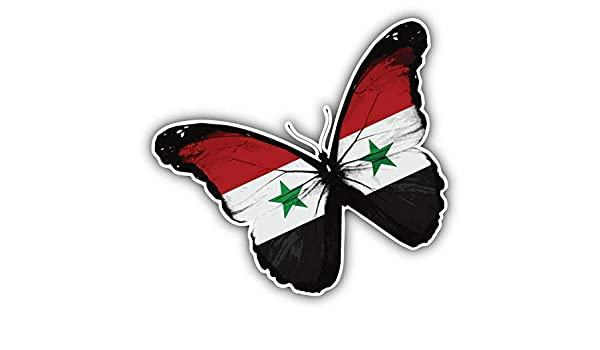 Syria Flag Butterfly Car Bumper Sticker Decal 5/'/' x 4/'/'