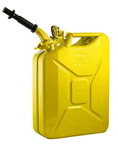 Wavian USA JC0020YVS Authentic NATO Jerry Fuel Can and Spout System Yellow (20 Litre) ()