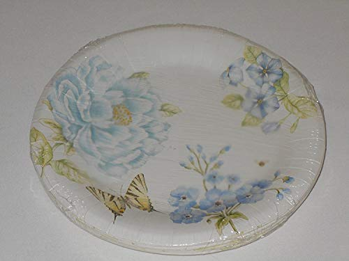 (Lenox Butterfly Meadow Blue by CR Gibson Coated Paper Dinner Plates 16 Count )
