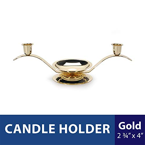 """Darice Gold Anniversar Victoria Lynn, 12.75"""" x 4"""" - Unity Center with Two Taper Candle Holders - Add an Elegant Touch to Wedding Ceremony or Anniversary Party-Makes a Keepsa"""