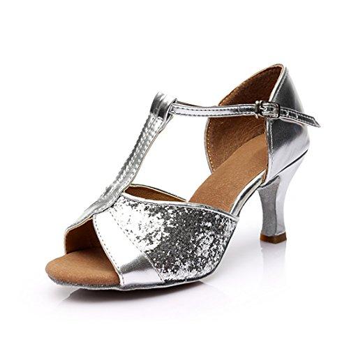 GetMine Frauen Latin Dance Schuhe Pailletten Salsa Tango Ballroom Dancing Performance Schuhe 2,7 '' Heel LA05 Silber