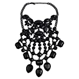 NABROJ Black Necklace Pendant Collier Collar Choker Large Vintage Maxi Chunky Necklace Drag Queen Costume Jewelry for Women-HL42 Black