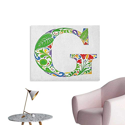 Anzhutwelve Letter G Wallpaper Colorful Floral Arrangement with Capital G Symbol Part of Alphabet Vibrant Design The Office Poster Multicolor W36 xL32]()