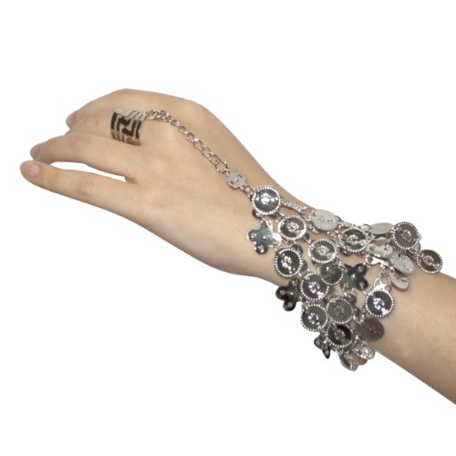 BellyLady Belly Dance Triangle Slave Bracelet With Silver Coins, Gypsy Jewelry (Good Halloween Costumes Ideas For Teenage Girls)