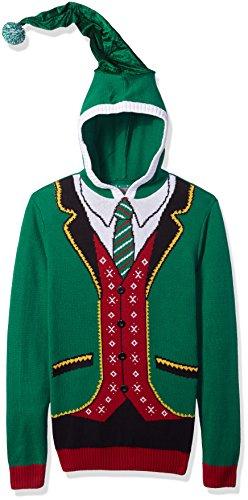 Ugly Christmas Sweater Company Men's Hoodie - Boss Elf, Emerald, L -