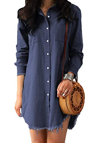 sandanper Women Long Sleeve Tunic Dress Denim with Pockets (M, Blue) ()