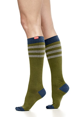 VIM & VIGR Women's 15-20 mmHg Compression Socks:Rugby Stripe - Moss & Navy (Cotton) (Medium) (Womens Rugby Navy)
