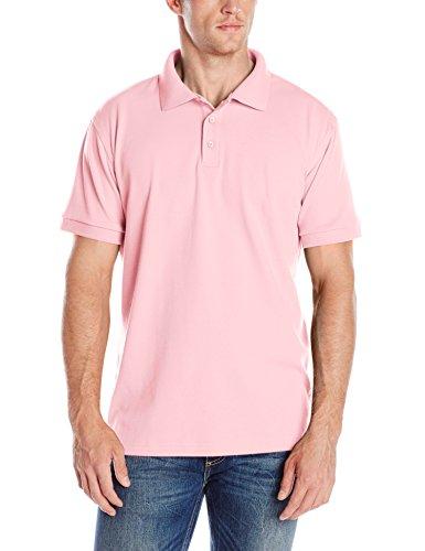 Interlock Polo (Classroom Men's Adult Unisex Short Sleeve Interlock Polo, Pink, Medium)