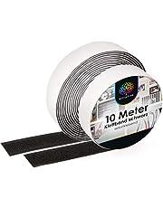 iLP Velcro zelfklevend zwart - 10 meter zelfklevende klittenband om te naaien - klittenband zelfklevend 20 mm breed - extra sterk - 1 rol lusband en haakband