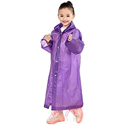 Aircee (TM) Age 6~12 Kids Hooded Jacket Rain Poncho Raincoat Cover Long Rainwear (Purple)