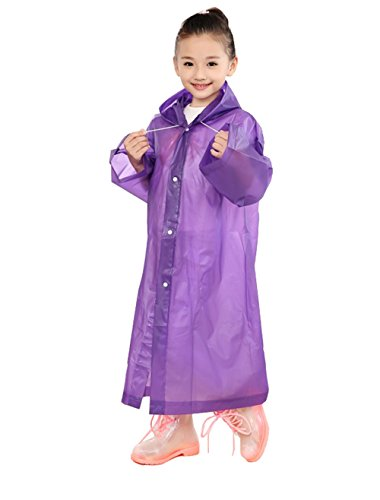 Aircee (TM) Age 6~12 Kids Hooded Jacket Rain Poncho Raincoat Cover Long Rainwear (Purple) (Rain Long Jacket compare prices)