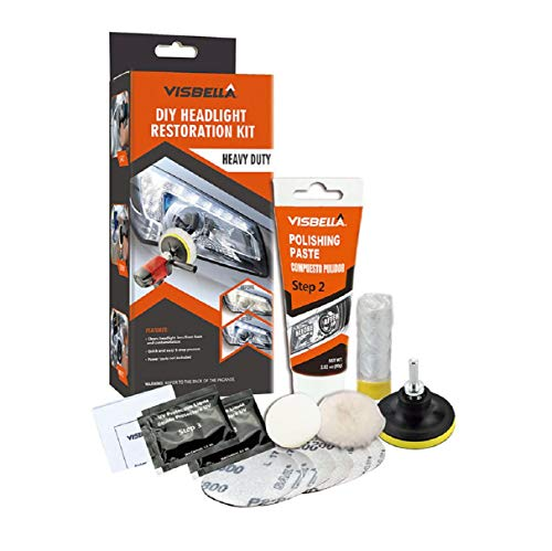 Boddenly DIY Vehicle Headlight Restoration Kit, Heavy Duty Drill Based, Ultimate Headlight Restore Cleaner with UV Protection, Clear Coat, Heavy Duty Car Headlight Restoration Kit