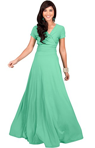 KOH KOH Womens Long Cap Short Sleeve V-Neck Flowy Cocktail Slimming Summer Sexy Casual Formal Sun Sundress Work Cute Gown Gowns Maxi Dress Dresses, Moss/Mint Green L 12-14