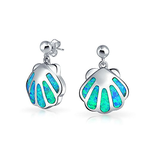 Synthetic Opal Shell - Created Blue Opal Nautical Tropical Beach Clam Sea Shell Stud Earrings For Women Sea Life 925 Sterling Silver