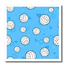 Janna Salak Designs Sports - Blue Volleyball Pattern - Iron on Heat Transfers - 6x6 Iron on Heat Transfer for White Material - ht_195243_2