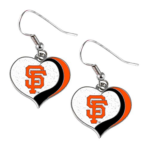San Francisco Giants Glitter - San Francisco Giants MLB Sports Team Logo Glitter Heart Earring Swirl Charm Set