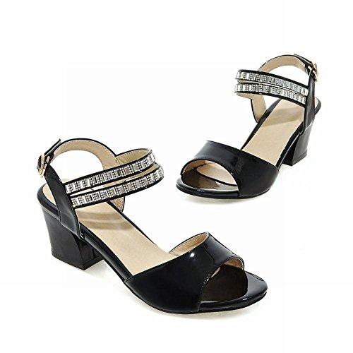 Carolbar Femmes Boucle Strass Élégance Douce Mode Peep Toe Chunky Mi-talon Robe Sandales Noir