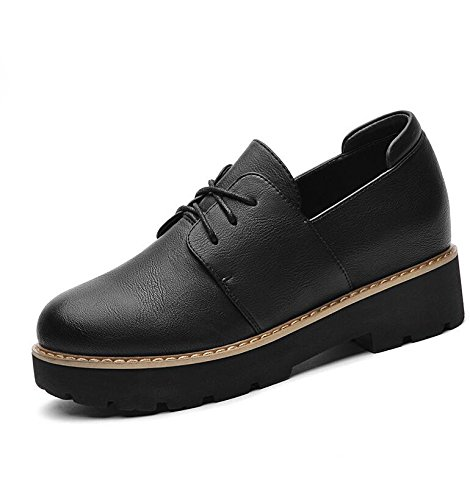 KHSKX-Black 3Cm Deep Mouth Single Shoes Women New Spring Round Head Strap Women Shoes Flat Base With A Large Number Of Women Shoes 34 hZpb2o8