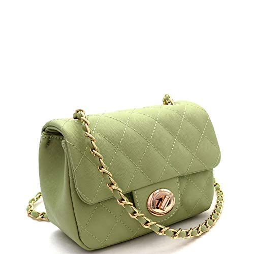 Quilted Turn-Lock Chain Cross Body Shoulder Bag (SMALL-GREEN)