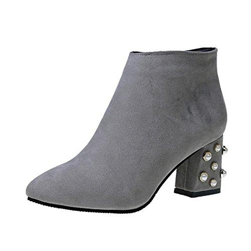 Stiefel damen Kolylong® Frauen Elegant Stiefeletten mit absatz Vintage Plateau Stiefel Kurz Warm Martin Stiefel Schuhe High Heel Ankle Boots Mädchen Freizeit Schuhe Grau
