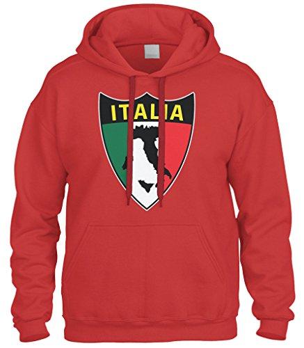 Cybertela Italian Italy Italia Shield Flag Sweatshirt Hoodie Hoody (Red, 3X-Large)