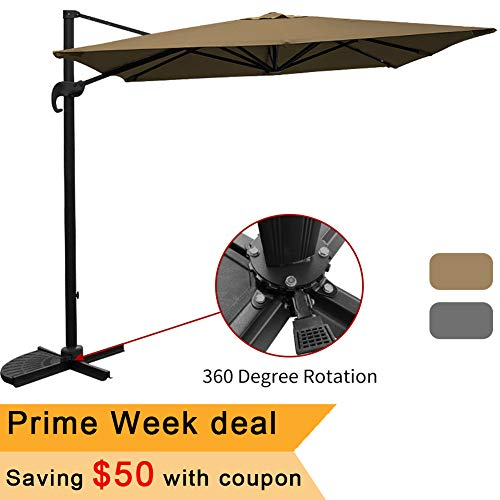 (Offset Patio Deluxe Umbrella 10ft Hanging Umbrella Outdoor Cantilever Umbrella with 8 Steel Ribs and Aluminum Pole 360 Degree Rotation for Garden Backyard Deck and)