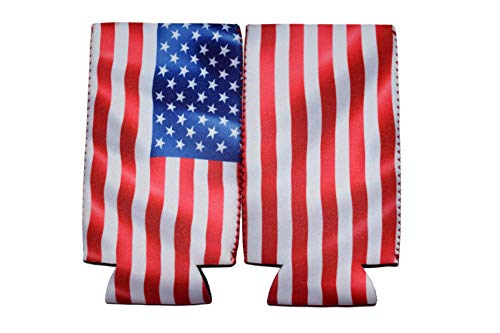 QualityPerfection 6 Slim American US Flag in The Wind - Neoprene Can Sleeves,Slim Beer Can Coolers,Energy Can Sleeves Great 4 Holidays,Sport/Business Events,Parties,Independence Day,BBQ,4th Of July by QualityPerfection (Image #6)