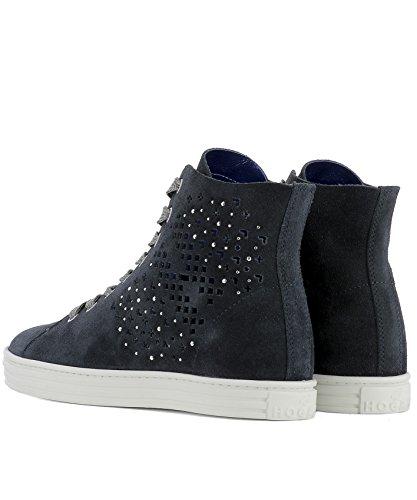Hogan Rebel Hi Top Sneakers Donna HXW1820X330FFY090S Camoscio Blu