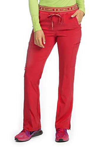 Med Couture Activate Scrub Pants Women, Flow Yoga 2 Cargo Pocket Pant, Red, Small