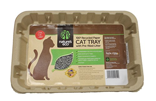 Disposable Cat Litter Boxes, Pre-Filled with 100% Recycled Paper Litter Pellets- 5 Pack of Trays- Includes Litter. Eco Friendly! Simply Peel Off Perforated Lid, Use, Dispose of Entire Tray! (Recycled Paper Pellets)