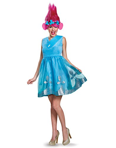 Disguise Women's Poppy Deluxe Adult W/Wig Costume, Blue, Small -