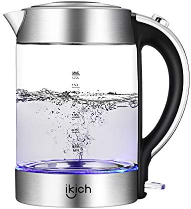 IKICH Electric Kettle, Auto Shut-Off Hot Water Boiler, Crystal Clear Glass Tea Coffee Heater, 1.7L Cordless Coffee Tea Kettle, Boil-Dry Protection with Blue LED Indicator and Stainless Steel Inner Lid
