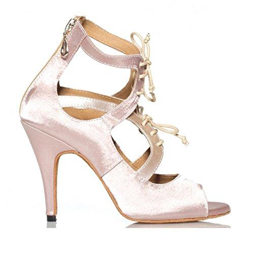 Damen Latin Schuhe funkelnde Glitter Sandale Ballroom Schuhe/Fersen Performance/Professional Strass/Sekt Glitter Flared Heel Party & Abend Classic Grau, attraktive Nude B