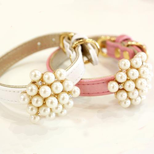 Pearl Pet Collar White Color for Dogs Fashion & Style-Size Small