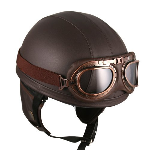 Leather Brown Motorcycle Goggles Vintage Garman Style Half Helmets Motorcycle Biker Cruiser Scooter Touring ()